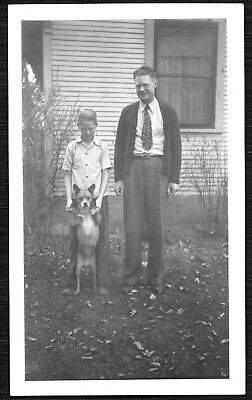 VINTAGE PHOTOGRAPH 1940-1950'S MAN BOY FASHION DOG PUPPY PUP STANDING OLD PHOTO