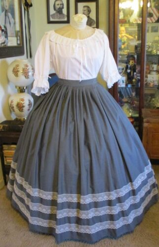 CIVIL WAR DRESS~VICTORIAN STYLE LOVELY 100% COTTON STEEL GRAY SKIRT~IVORY LACE