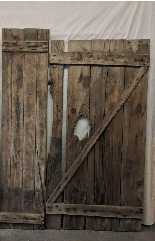 Two Reclaimed Wood Barn Doors Sliding Barn Doors Vintage Lumber Hinged