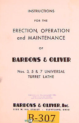 Bardons Oliver 3 5 7 Turret Lathe Operations And Maintenance Manual 1952