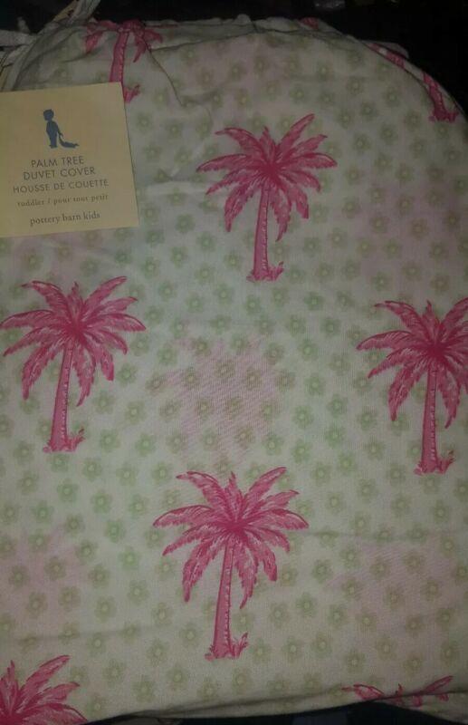New Pottery Barn Kids PALM TREES Toddler  DUVET girls Hawaiian beach pink