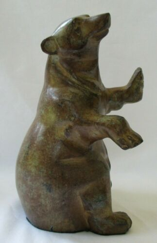 LARGE CARVED SOAPSTONE BROWN BEAR FIGURINE