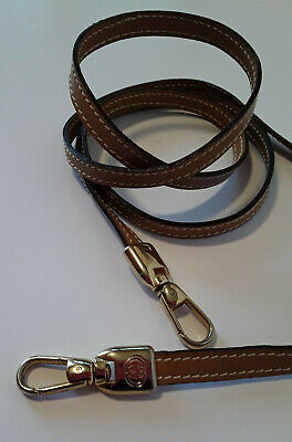 GUCCI AuthenticTan Leather Thin Strap Gold GG Clip On Purse Strap (strap only)
