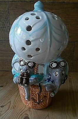 PIGGERY POTTERY ELEPHANTS IN HOT AIR BALLOON LAMP NO WIRING OR FITTINGS 11