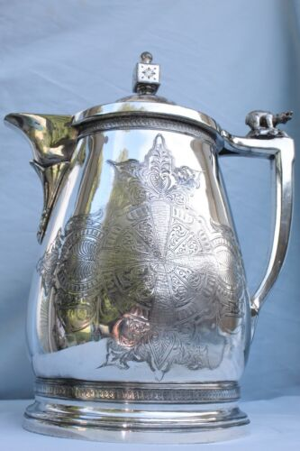 MERIDEN B COMPANY SILVER PLATE LINED PITCHER ALASKA PURCHASE COMMEMORATIVE