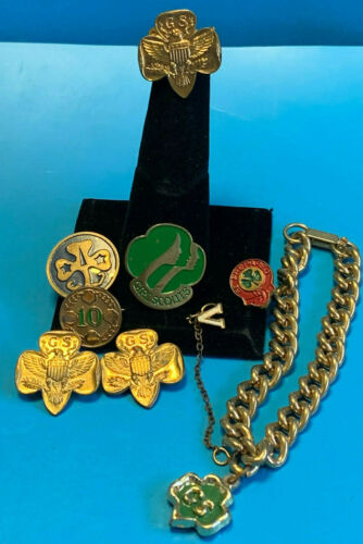 Vtg Girl Scout Pin and Jewelry Lot Gold Tone