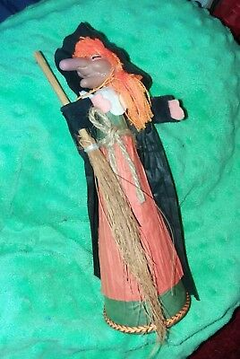 Vintage Halloween Witch Doll Crepe Paper Outfit  w Broom Made in Japan RARE - Vintage Halloween Witch Dolls