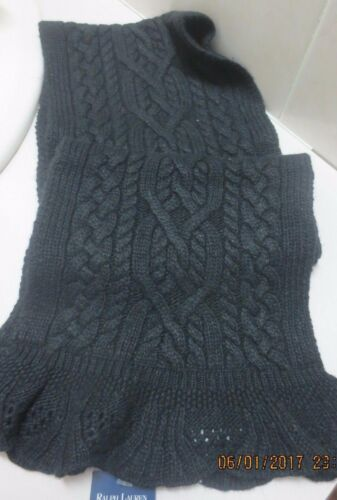 Ralph Lauren Childrens Girls Black Cable Knit  Neck Scarf  NWT