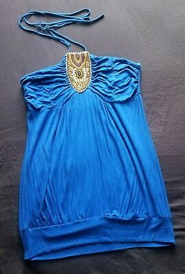 Royal Blue Cotton Jersey Beaded Top Women's  Size: Large  ()
