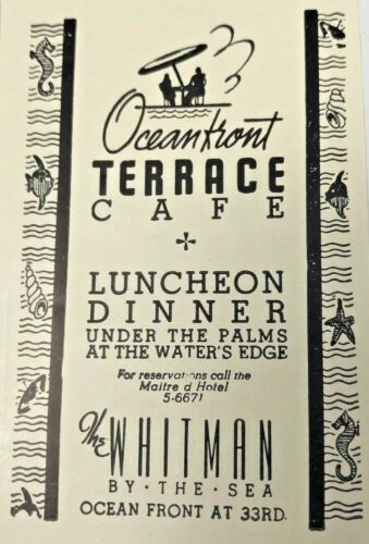 1940 Advertising The Whitman Hotel Ocean Front Terrace Cafe Florida FL Print Ad