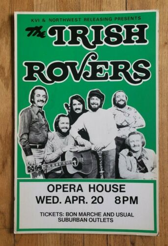 *Original* (1977) THE IRISH ROVERS Folk Seattle Tour Concert cardboard POSTER