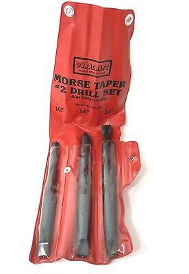 New 3pc Drill Set Morse Taper 2 Shank Twist 1258 34 Super Sharp Hss 2mt