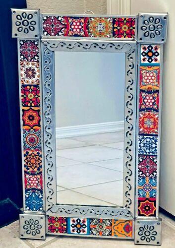 "Talavera Mirror Wall Mexican Folk Art Tile Pottery 21.5"" x 13"""