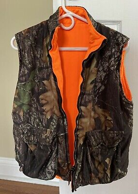 Woolrich Vest Boys Youth Size XL 18/20 Camo Mossy Oak Breakup Hunting Reversible