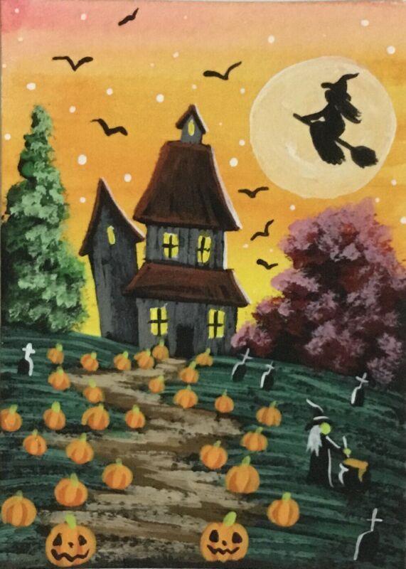 ACEO Original Halloween Watercolor & Acrylic Sketch Card Pumpkins Witch