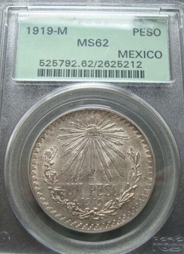 1919 Mexico RARE $1Peso Silver Beautiful Coin PCGS MS62