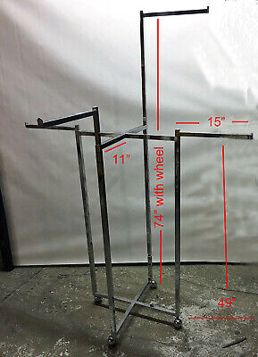 Lot Of 2pcs 4 Way Clothing Garment Display Rack W 4 Straight Arms Wheel Used