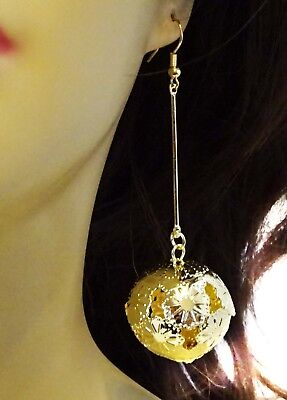Silver Ball Drop - FILIGREE BALL DROP EARRINGS FUN FANCY GOLD OR SILVER TONE 3 INCH LONG LIGHT