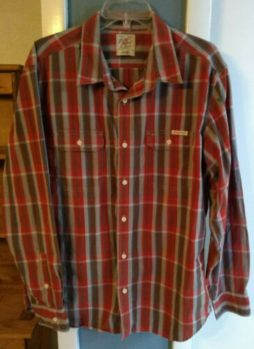 Sale Lucky Brand Sz Lrg Plaid LS Button Up Shirt Mens Distinctive Western