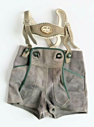 Vintage German Childs Size Leather Lederhosen w/ Bark Deer Decorative Button