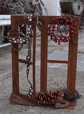 Edelrost Sprossen-Fenster klein Garten Metall Rost Platte 45 cm Terrasse  ()