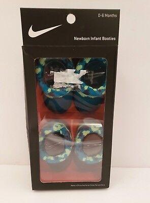 Nike Newborn Baby Infant Booties Socks Camo Green Black 0-6 Months