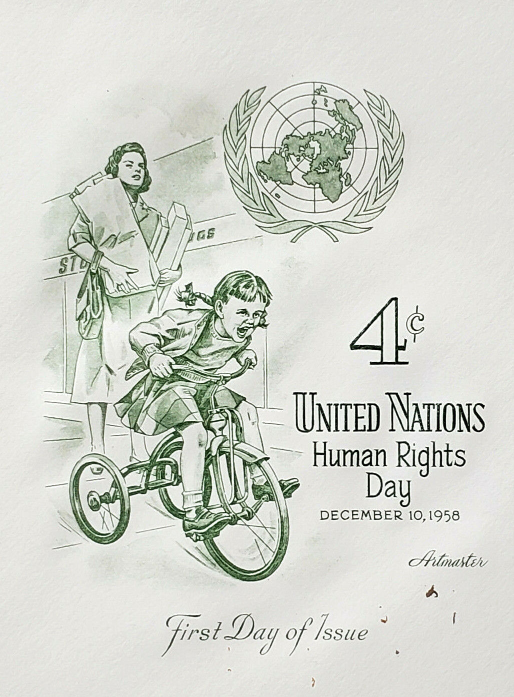 UN 4c Hands Upholding Human Right Day Issue Artmaster FDC 1958