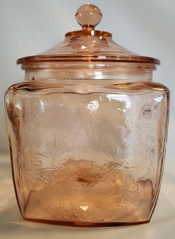 Vintage Federal Glass Madrid Pink Depression Glass Cookie Jar With Lid