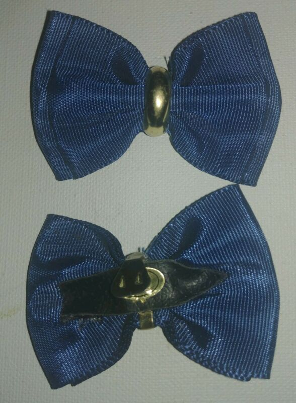Shoe Clip Navy Blue Grosgrain Ribbon With Gold Metal Ring