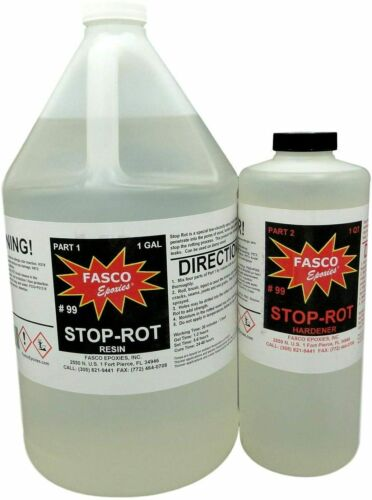 Stop-Rot Penetrating Epoxy for Repairing Rotten Wood 160 Ounce Kit