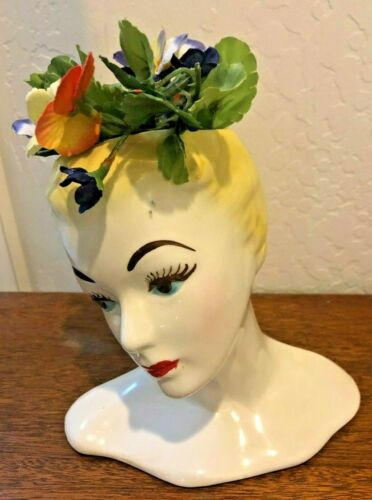 Vintage Glamour Girl Ceramic Head Vase - Hand Painted
