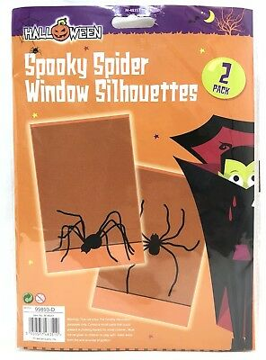 2 Halloween Spooky Spider Window Silhouettes Party Trick or Treat Decoration  - Halloween Spider Silhouettes