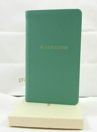 "Fortnum & Mason Address Book Pocket Size Leather 3x5"" Soft Cover Eau de Nil"