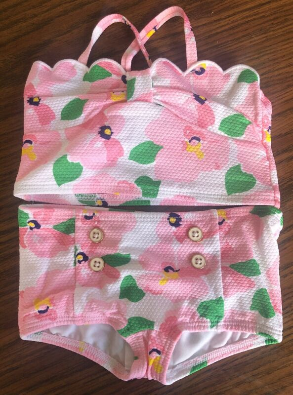 NWT Janie and Jack Pink Bloom 2-Piece Swimsuit Size 12-18 Months Flowers