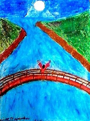 DRAWING, OIL PASTEL ON SKETCH PAD, 'A LIGHT TO REMEMBER',  - FREE SHIPPING!