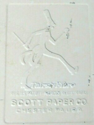 Vtg Scott Paper Towel Dispenser Mr.thirsty Fibre Metal Gas Station 1940s Rare