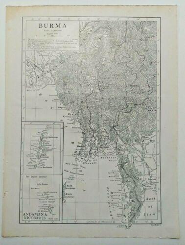 1911 Vintage BURMA Atlas Map Old Authentic Antique Encyclopedia Britannica