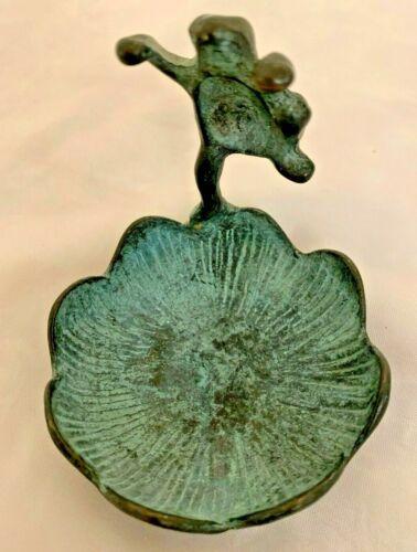 """Green Cast Metal 3"""" Frog Figurine Marked SPI"""