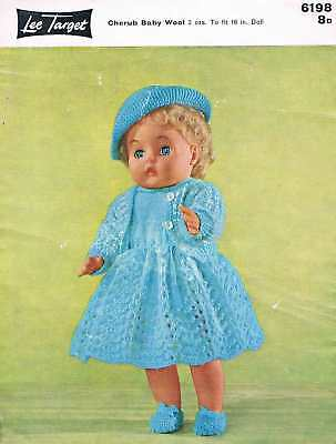 "Vintage Knitting Pattern for Dolls Clothes to fit 16"" doll - A4 printed copy"