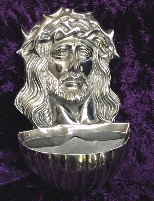 Pewter Holy Face Of Jesus Holy Water Font  - Ecce Homo