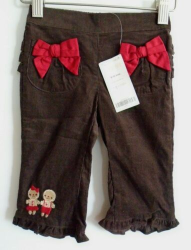Gymboree NWT 6-12m Holiday pants,Brown corduroy,red bows,ruffle,Gingerbread Kids