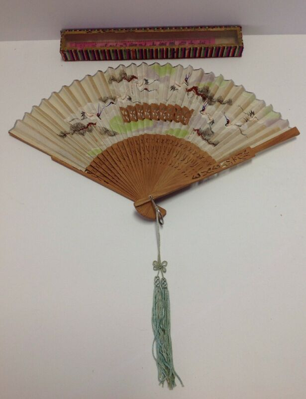 Antique Wang Sin Kee Shop Shanghai China FAN vintage Chinese silk hand painted#1