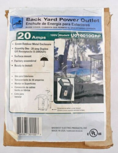 Midwest Electric U010010GRP Backyard Power Outlet, 20 Amp GFCI