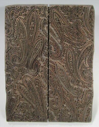 RARE India Indian Paisley Pattern Wood & Metal Wire Block Printer ca. 19-20th c.