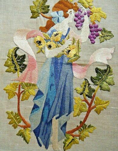 """Vintage French art nouveau hand embroidered picture lady piking an grape 18""""x17"""""""