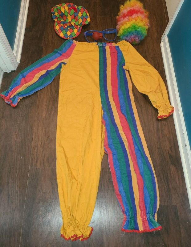 Vintage Adult Clown Halloween Costume Outfit Hat Wig Glasses