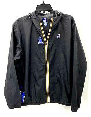 K-Way Mens XL La Vrai 3.0 Black Full Zip Packable Windbreaker Rain Jacket NWT
