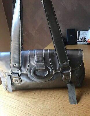 NEW Apt 9 Women's Silver LEATHER Handbag Purse Satchel Shoulder Hobo Bag