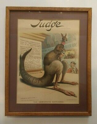 Judge Magazine Cover 1899  Framed  - Democratic Kangaroo - Grant Hamilton