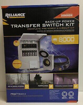 New Reliance Controls 8000 Watt Non-fuse 6-circuit Transfer Switch Kit 3006hdk